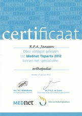 Mednet Top Orthopaedic Surgeon 2012 Award